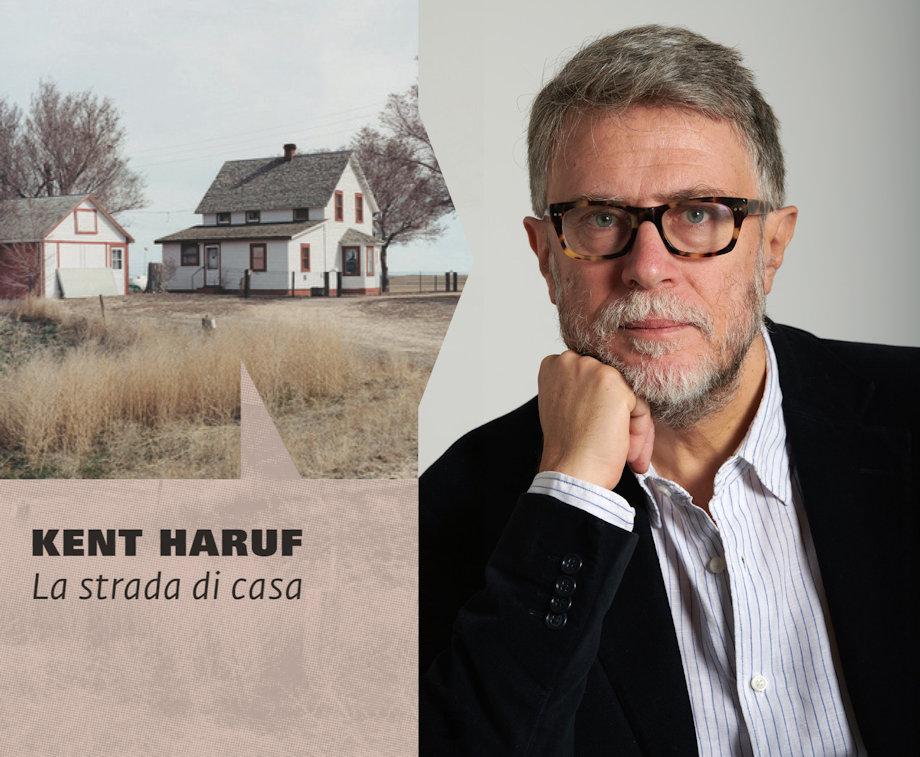 Copertina di romanzo di Kent Haruf e foto del traduttore Fabio Cremonesi
