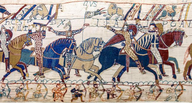 Arazzo medioevale con cavalieri