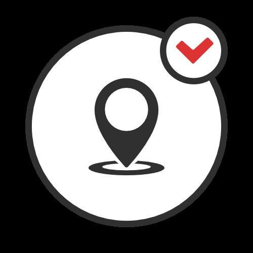 Simbolo di pin puntato su luogo