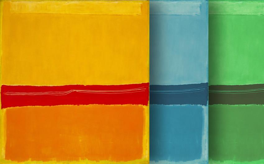 3 tele sovrapposte, astratte, in arancio, azzurro, verde