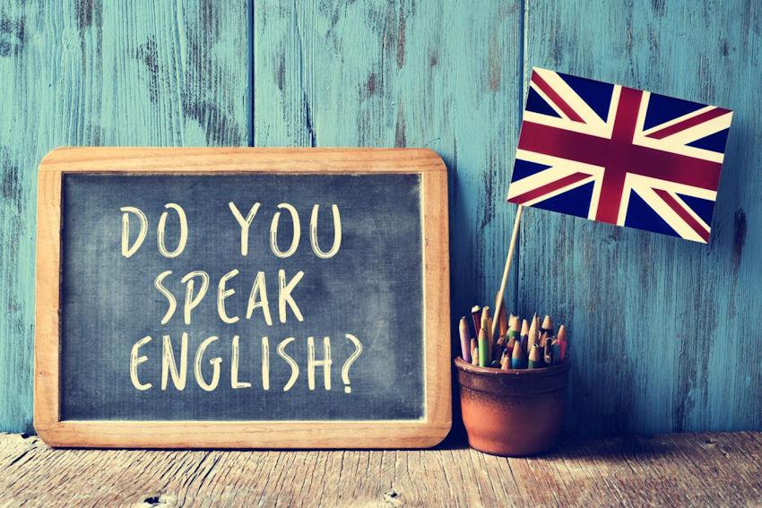 lavagna - do you speak english - e bandiera inglese