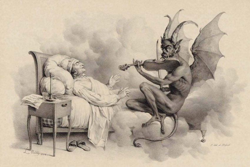 illustrazione antica di diavolo che suona il violino al capezzale