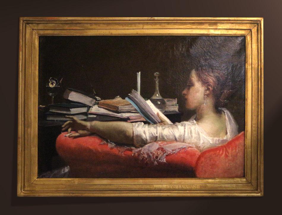 Dipinto di donna, in poltrona, che legge